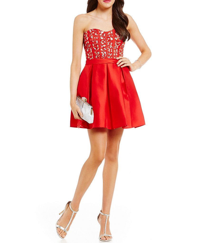 Teeze Me Strapless Beaded-Corset Bodice Satin-Skirt Skater Dress