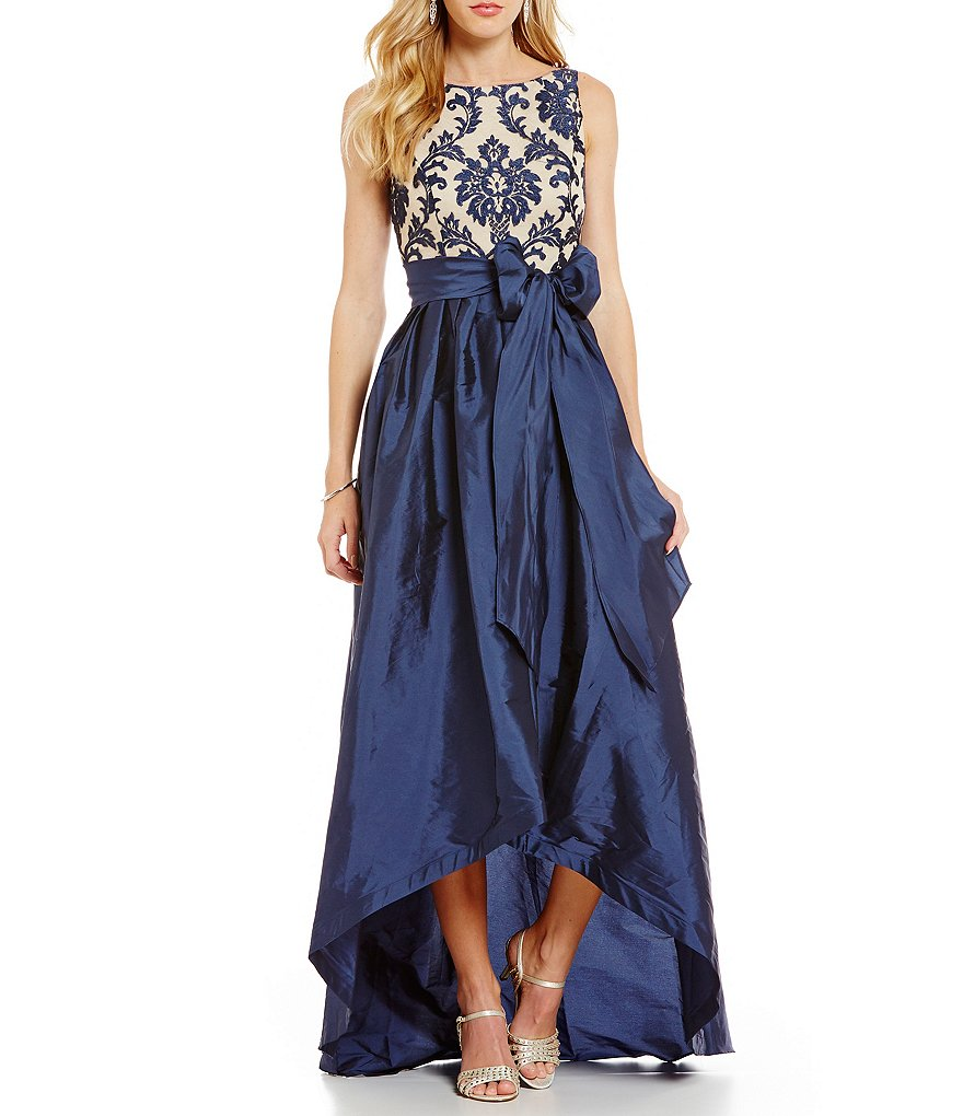 Adrianna Papell Embroidered Lace Taffeta High-Low Ball Skirt