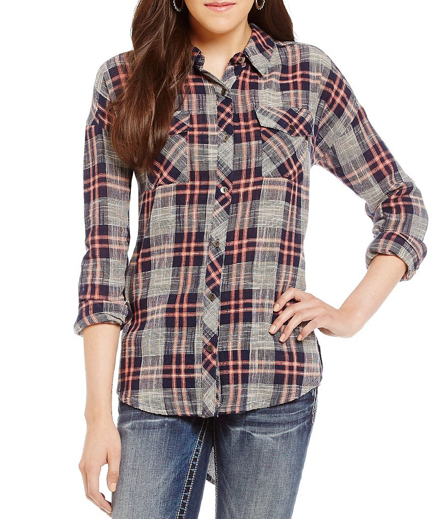 Miss Me Chiffon Printed Back Plaid Shirt