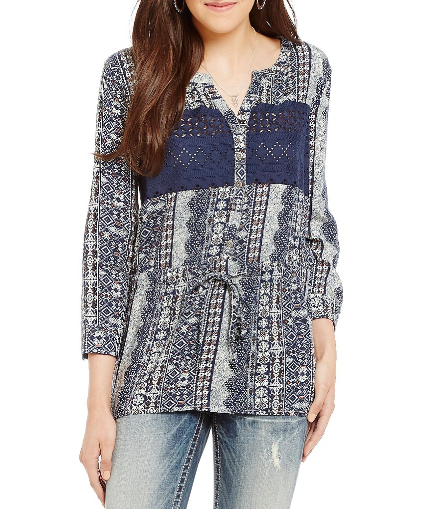 Miss Me Printed Lace-Panel Drawstring Blouse