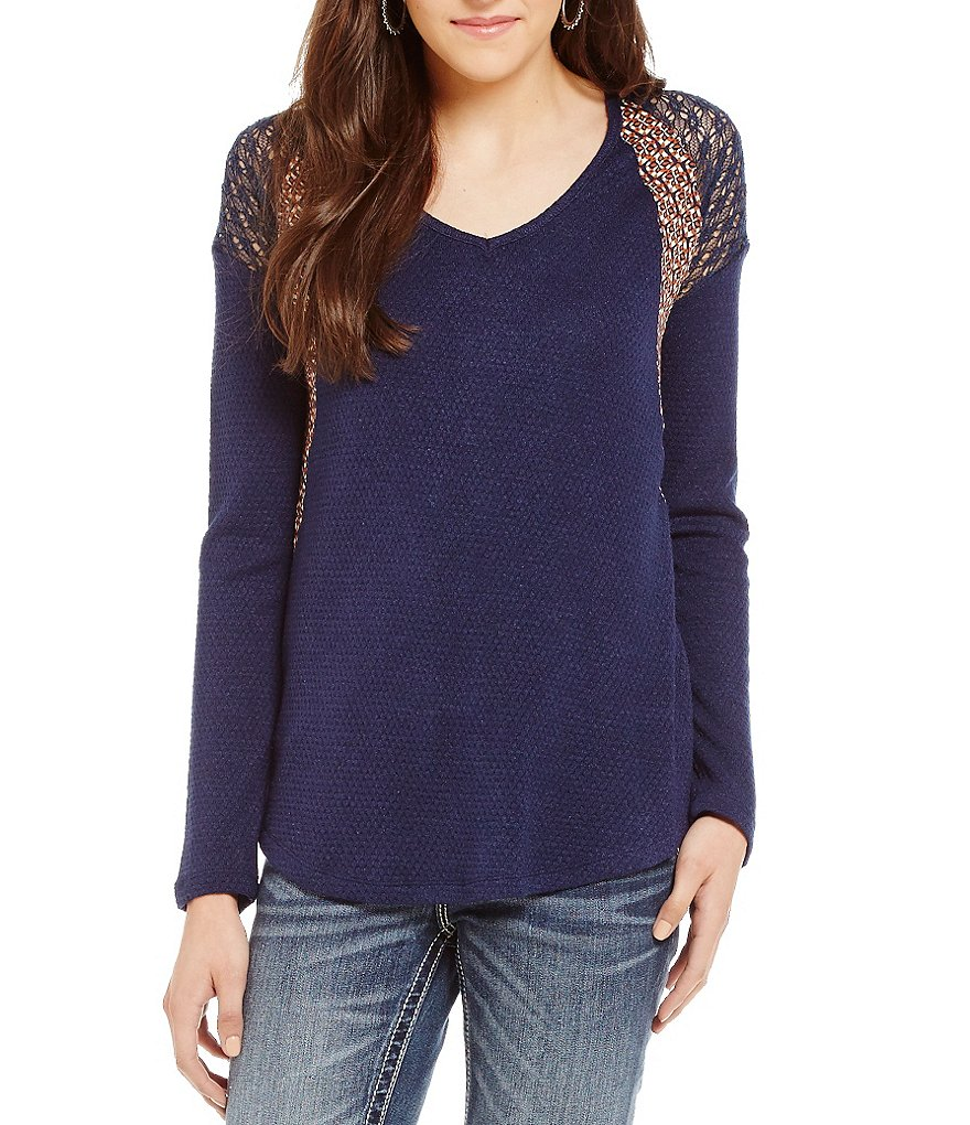 Miss Me Crochet Shoulder Waffle Knit Top