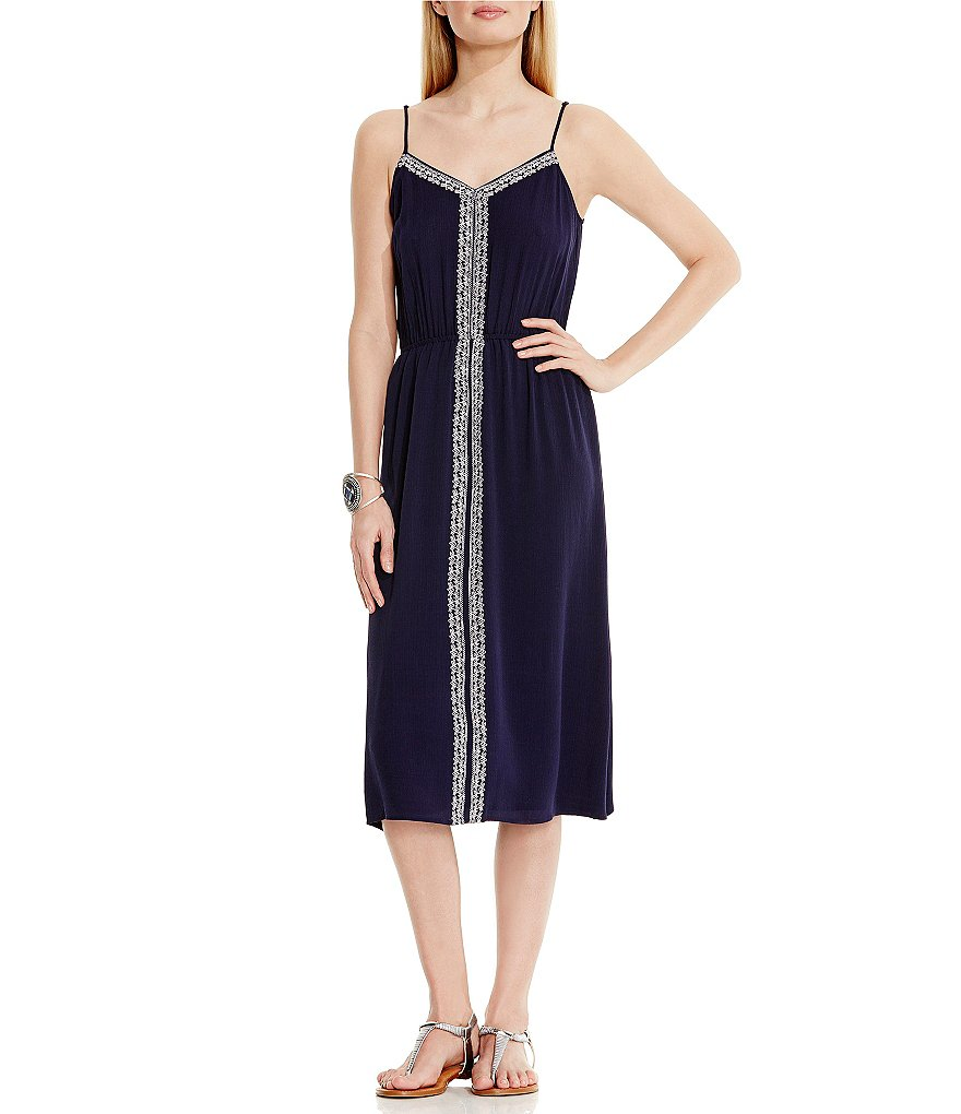 Two By Vince Camuto Embroidered Midi Dress