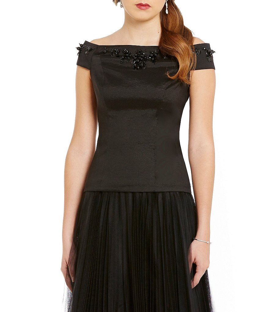Adrianna Papell Beaded Off-the-Shoulder Taffeta Top
