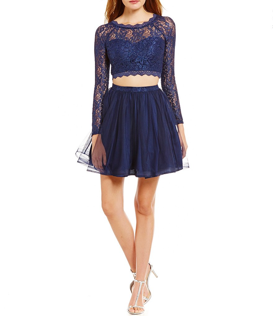 Sequin Hearts Lace Long-Sleeve Two-Piece Party Dress