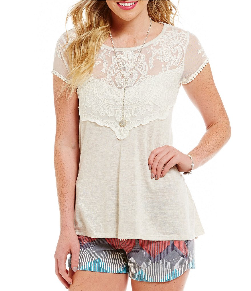 Jolt Embroidered-Lace Knit Tee
