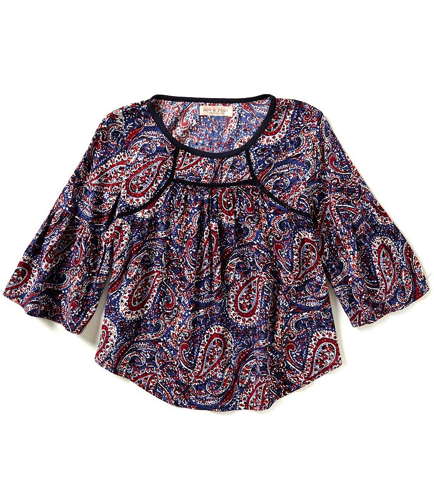 Zoe & Rose by Band Of Gypsies Big Girls 7-16 Bell-Sleeve Paisley Peasant Top