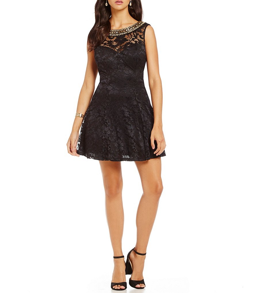 B. Darlin Beaded Neckline Lace A-line Party Dress