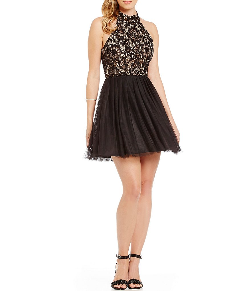 B. Darlin Mock Neck Lace Bodice A-line Party Dress