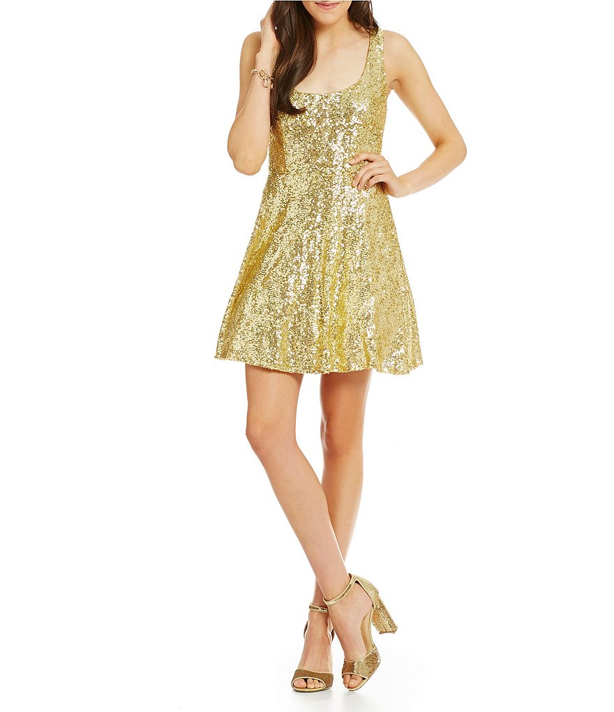 B. Darlin Sleeveless Sequin A-line Party Dress