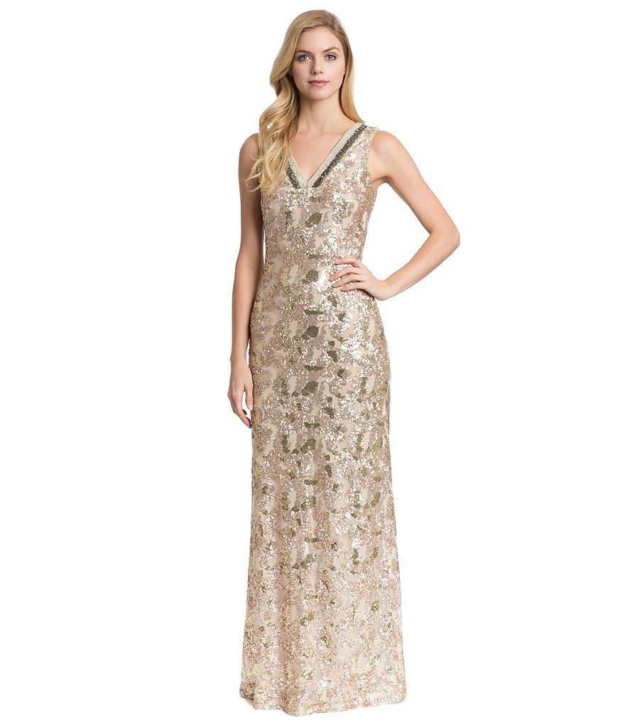 Belle Badgley Mischka Rae Sequin V-Neck Dress