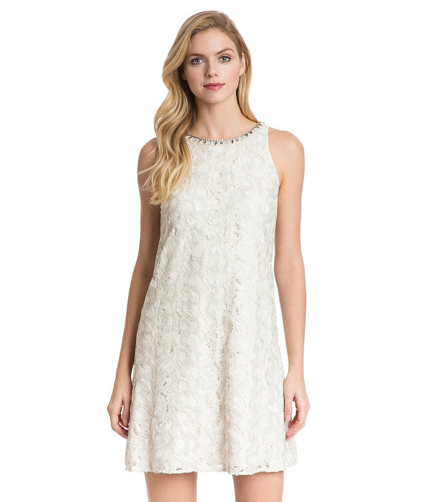 Belle Badgley Mischka Rana Sleeveless Lace Dress