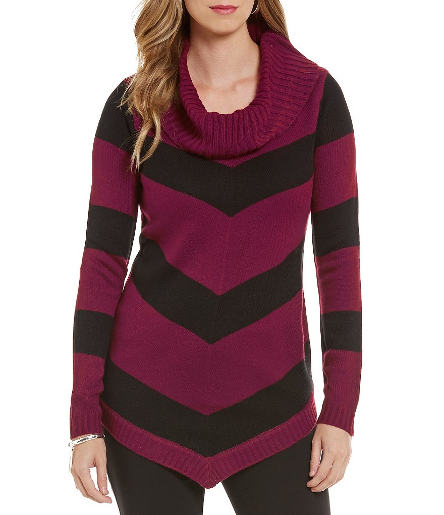 I.N. Studio Cowl Neck Stripe Ombre Tunic Sweater
