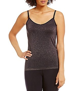 Modern Movement Seamless Metallic-Striped Camisole