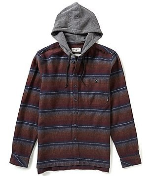 Billabong Baja Heavyweight Stretch Flannel Thermal Hooded Horizontal Striped Shirt