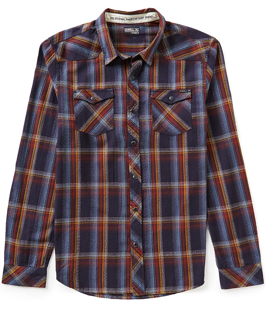 O'Neill Timshel Plaid Long-Sleeve Lightweight Crepe Shirt