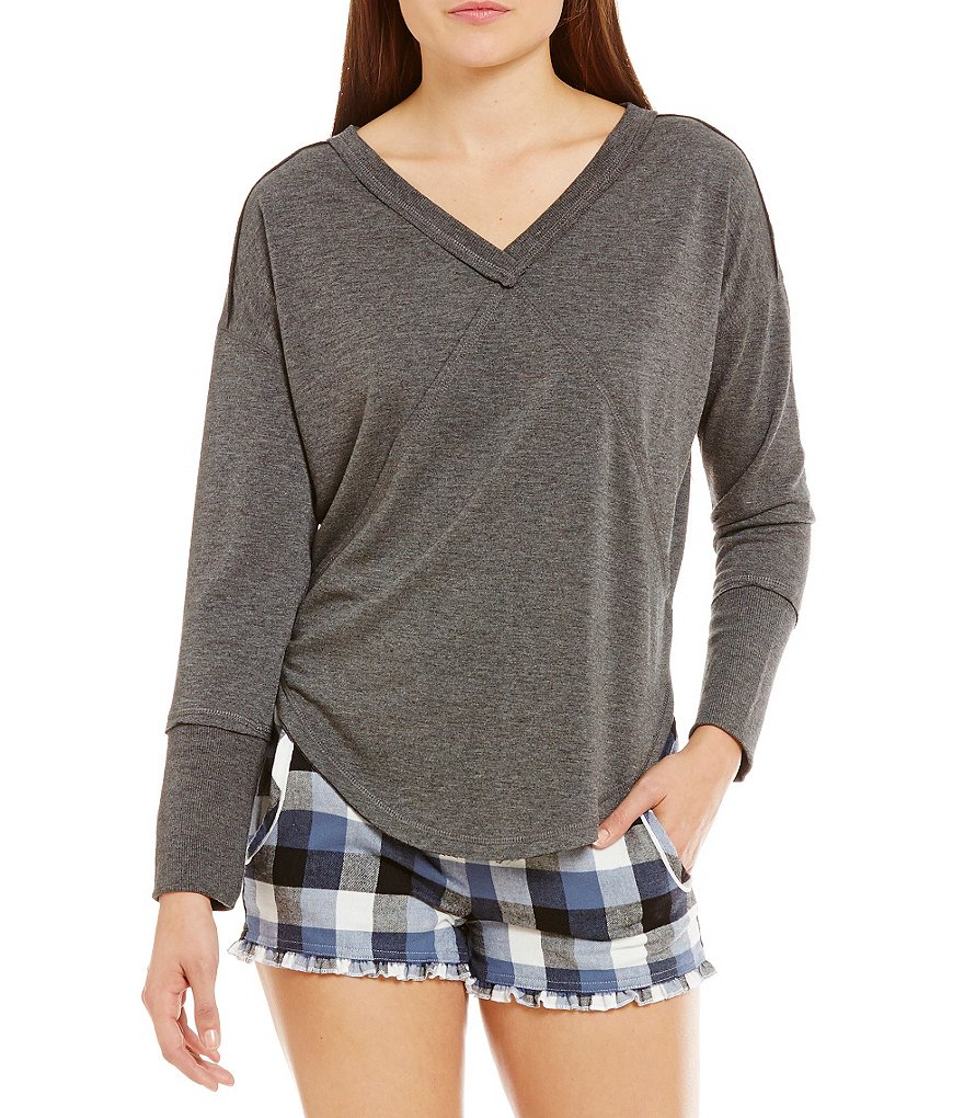 Jasmine & Ginger Paneled Fleece Lounge Top