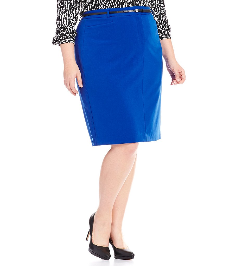 Calvin Klein Plus Luxe Stretch Belted Pencil Skirt