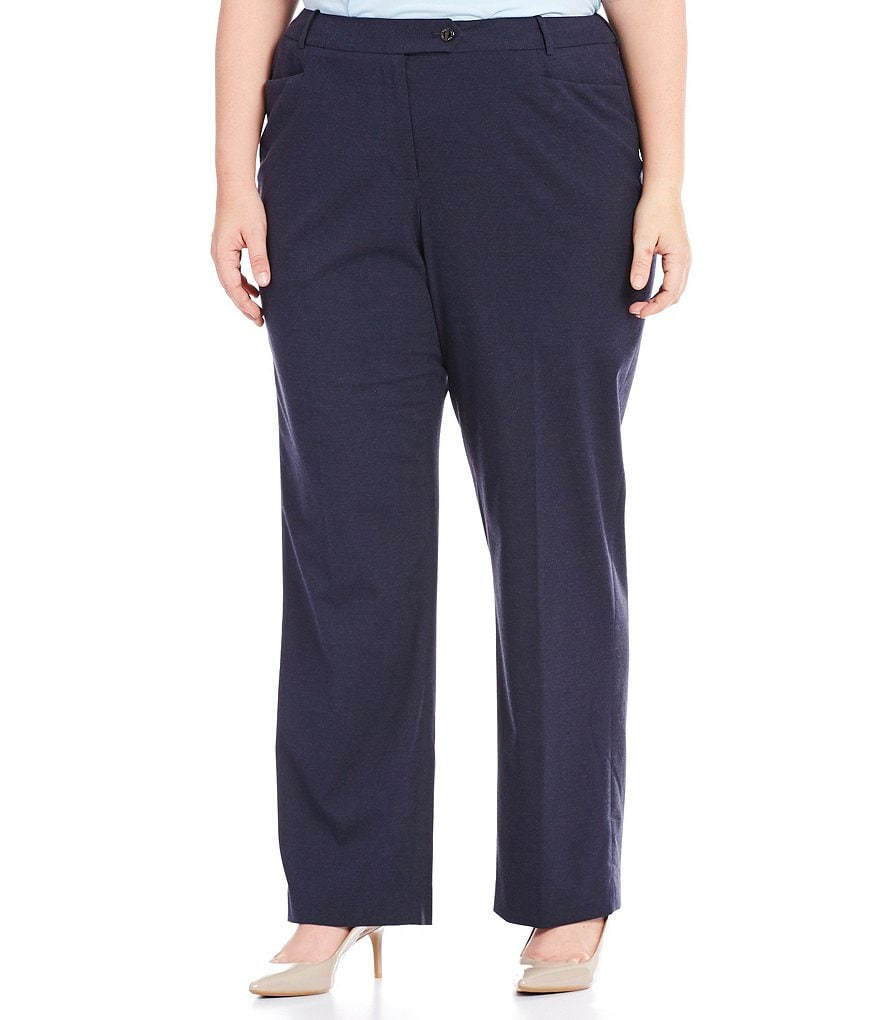 Calvin Klein Plus Heathered Luxe Stretch Modern-Fit Straight-Leg Pants