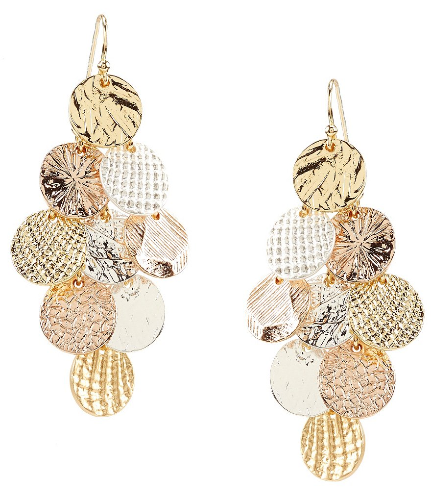 Dillard´s Tailored Textured Disc Drop Statement Earrings