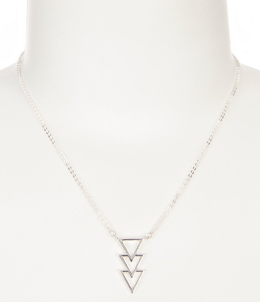 Barse Sterling Silver Geometric Triangle Pendant Necklace