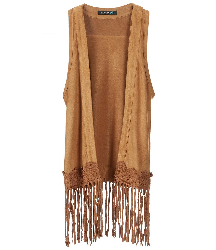 Takara Little Girls 4-6X Faux-Suede Fringe-Hem Vest