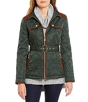 Vince Camuto Faux-Suede Trim Belted Short Quilted Jacket