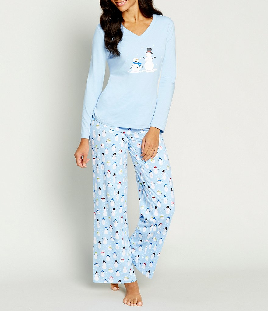 Sleep Sense Petite Holiday Dancing Snowmen Pajamas