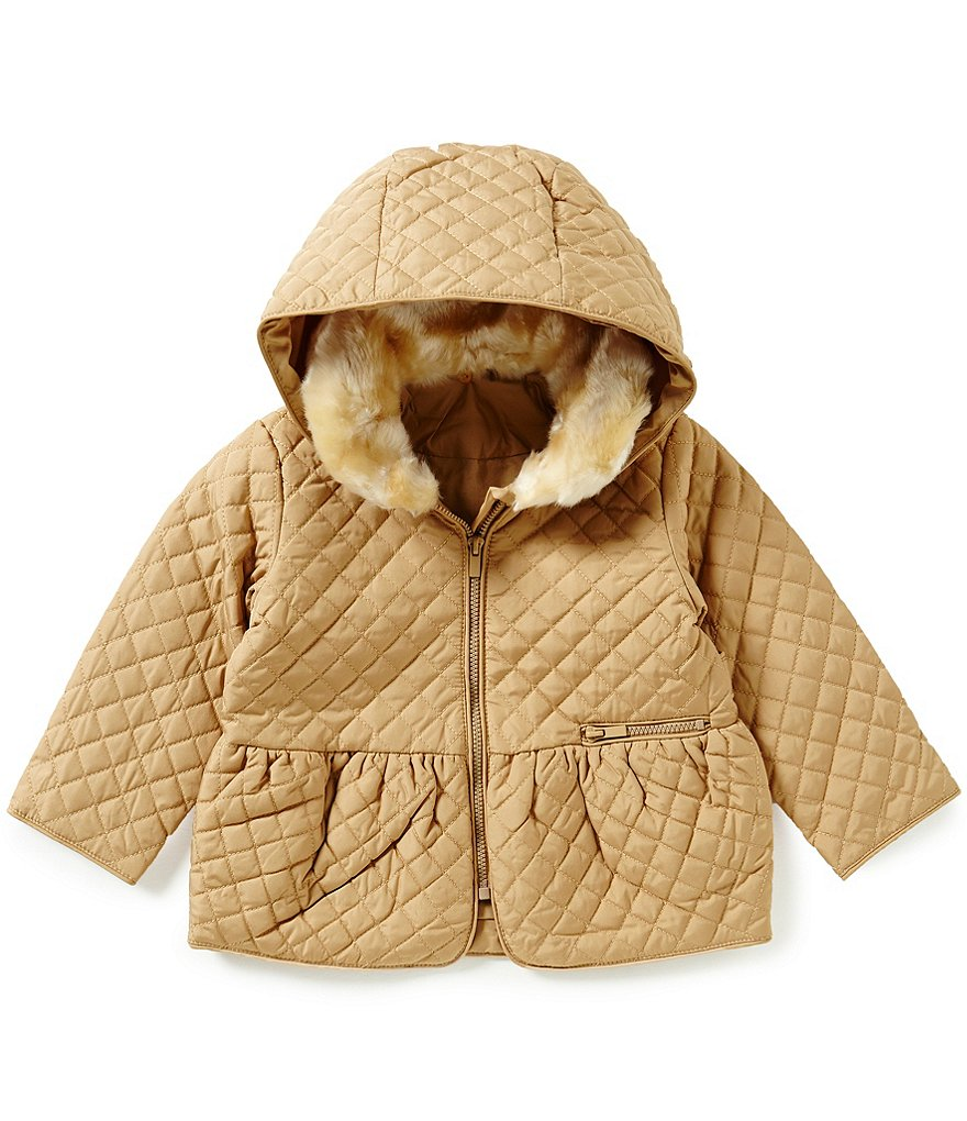 Starting Out Baby Girls 3-24 Months Hooded Faux-Fur Quilted Coat