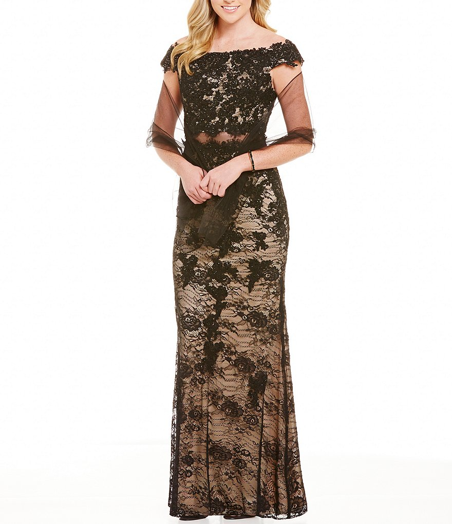 Coya Collection Off-The-Shoulder Lace Illusion Waist Long Dress