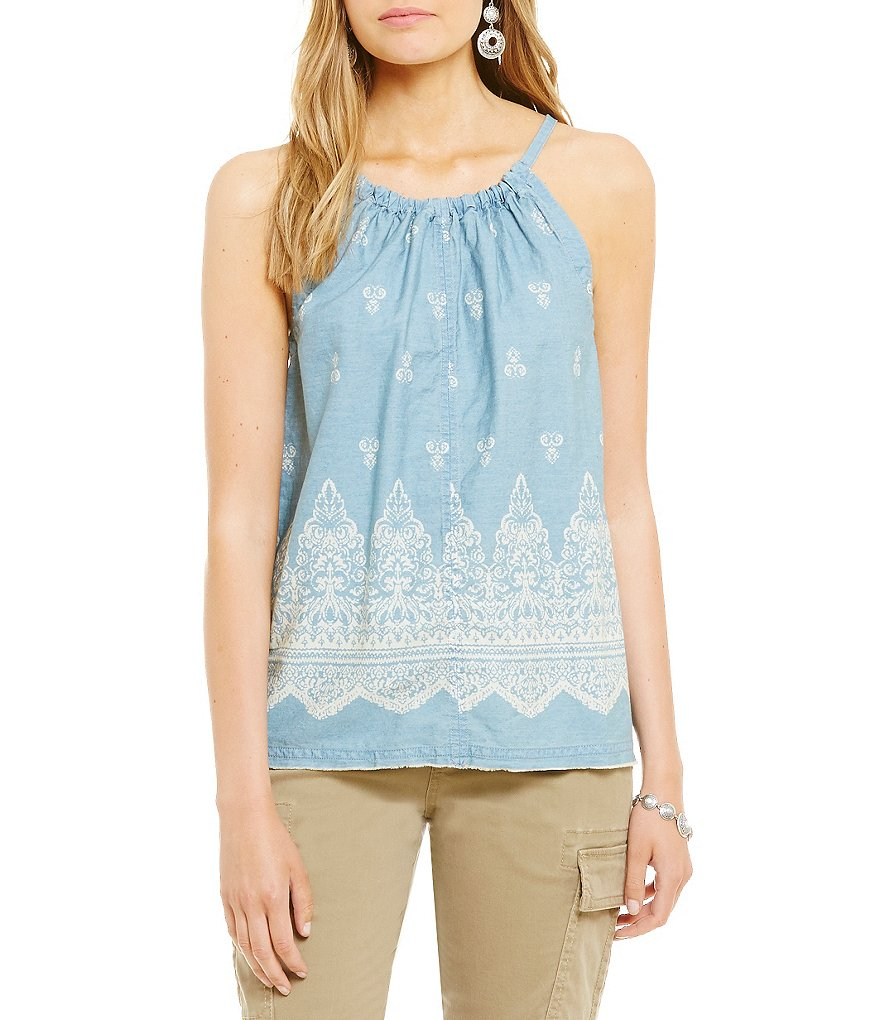 ECI Printed Denim Halter Top
