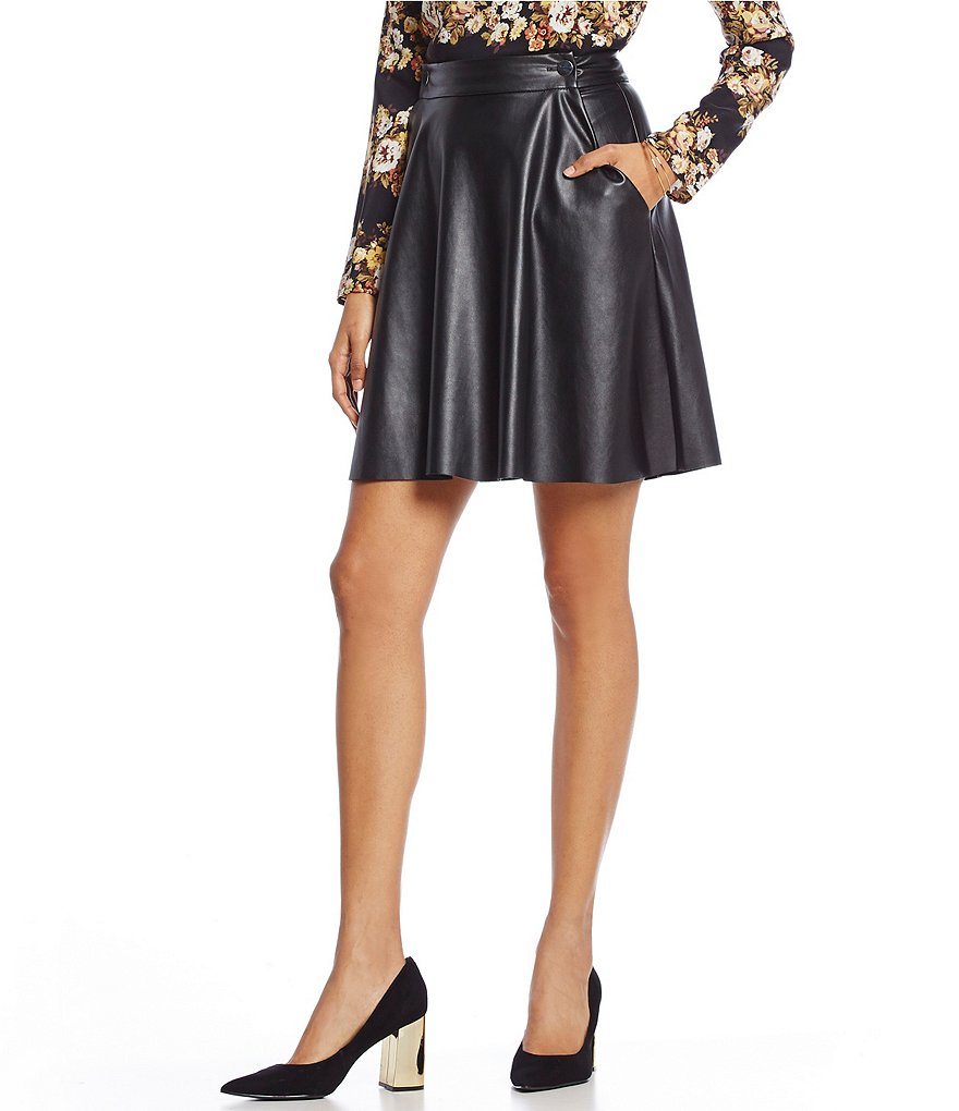 WAYF Colt Faux-Leather Flounce Skirt