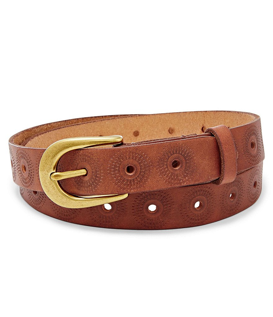 Fossil Floral-Embossed Leather Belt