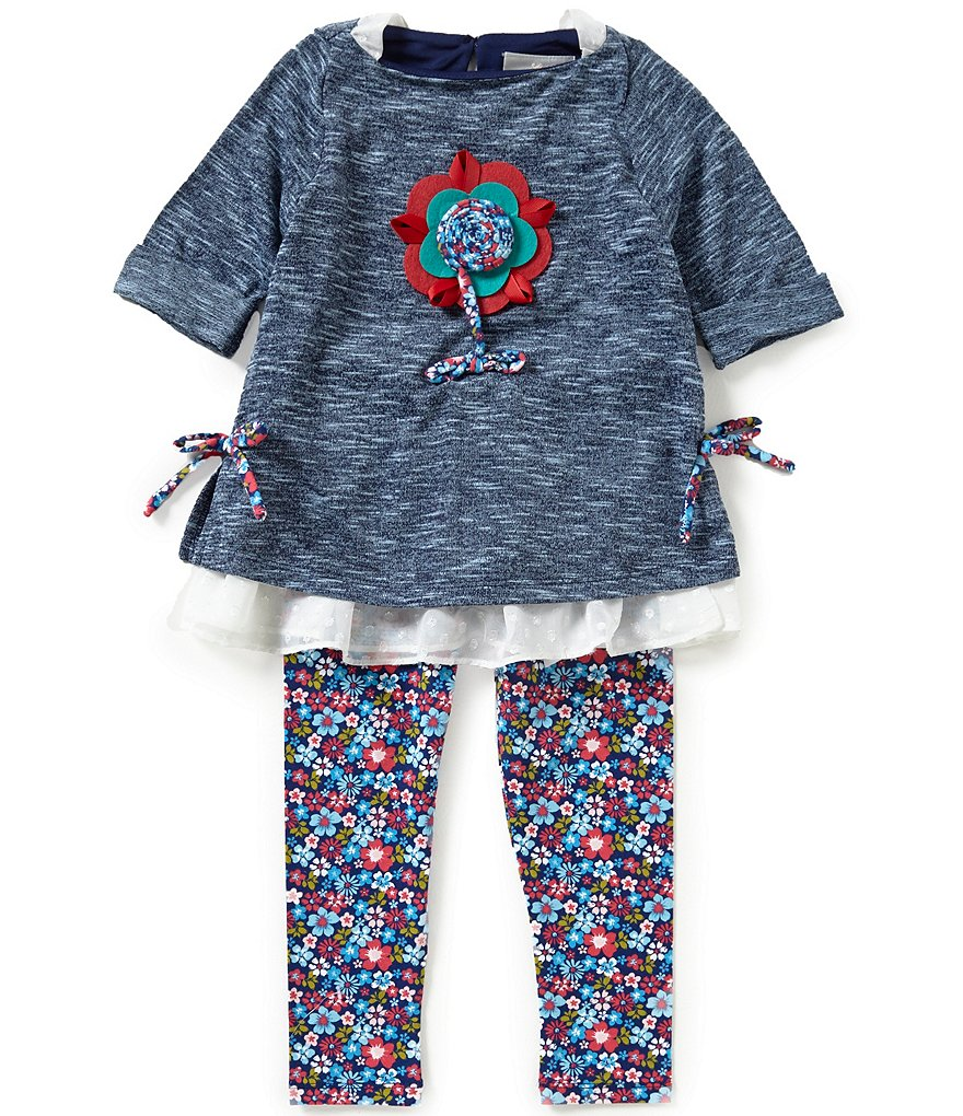 Rare Editions Little Girls 2T-6X Floral-Print Top & Leggings Set