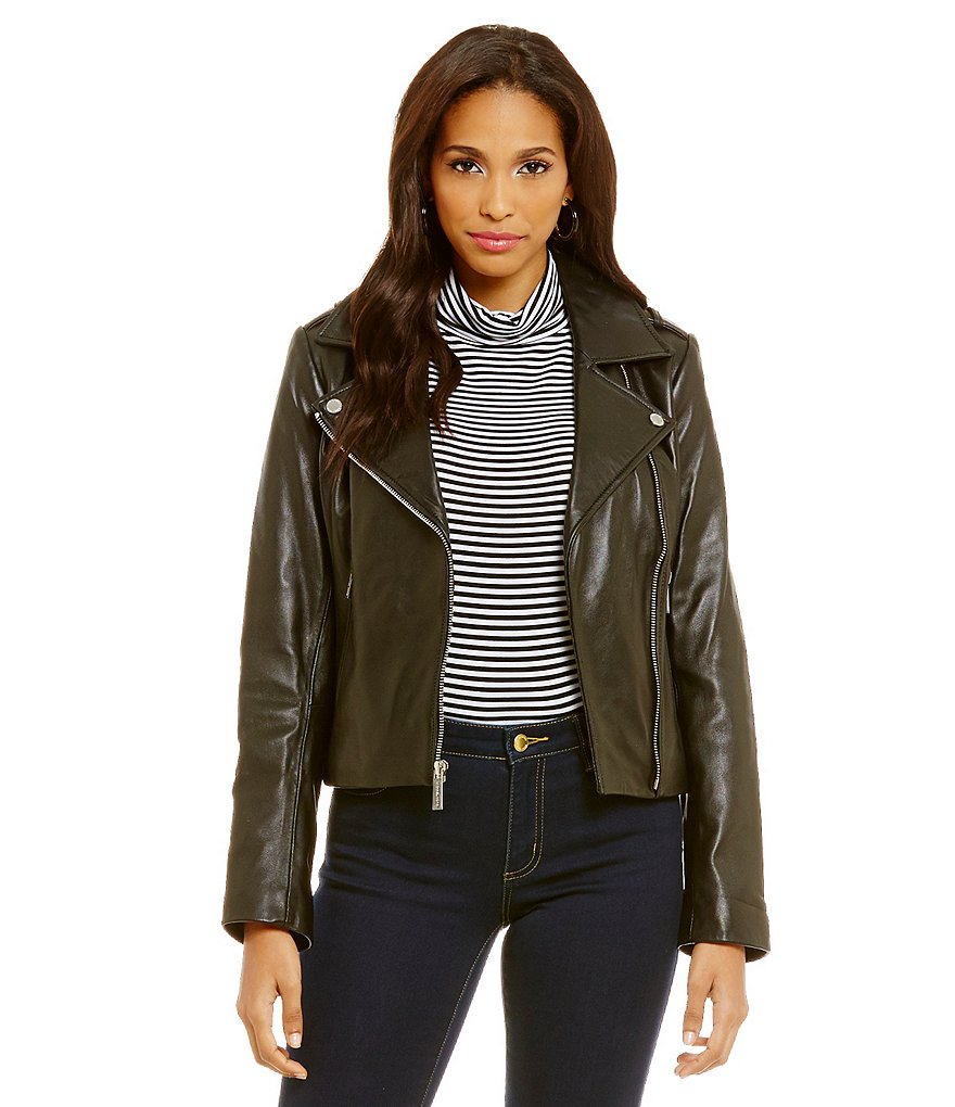 MICHAEL Michael Kors Short Asymmetrical Moto Genuine Leather Jacket