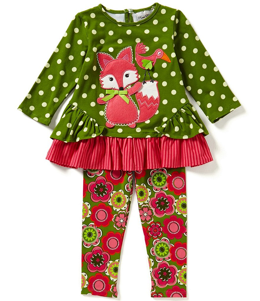 Rare Editions Little Girls 2T-6X Fox-Applique Top & Leggings Set