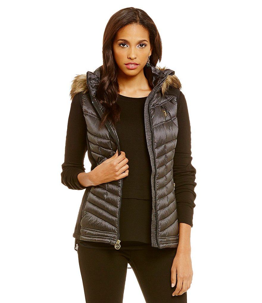 MICHEAL Michael Kors Soft Down Vest With Faux Fur Hood