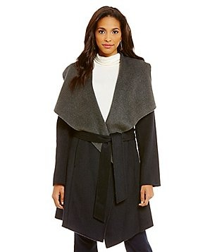 MICHAEL Michael Kors Wool Shawl Collar Double Face Wrap Coat