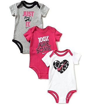 Nike Baby Girls Newborn-12 Months Bodysuit Three-Pack