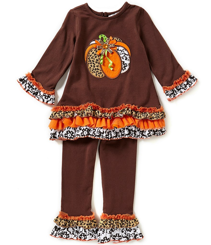 Rare Editions Little Girls 2T-6X Thanksgiving Animal Print Pumpkin Top and Leggings Set
