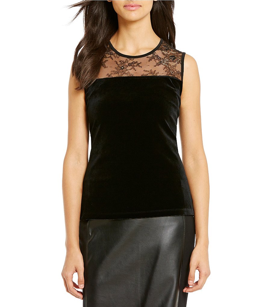 Calvin Klein Lace Yoke Velvet And Matte Jersey Shell