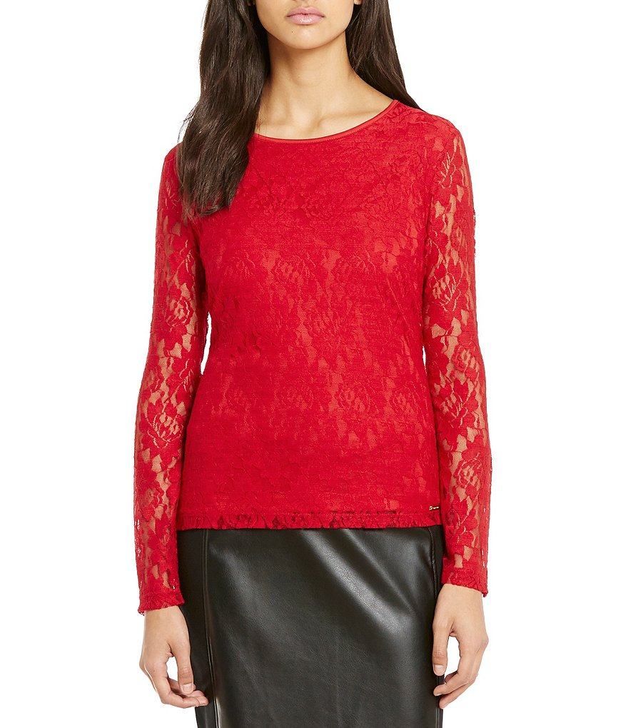 Calvin Klein Crew Neck Floral Lace Knit Top