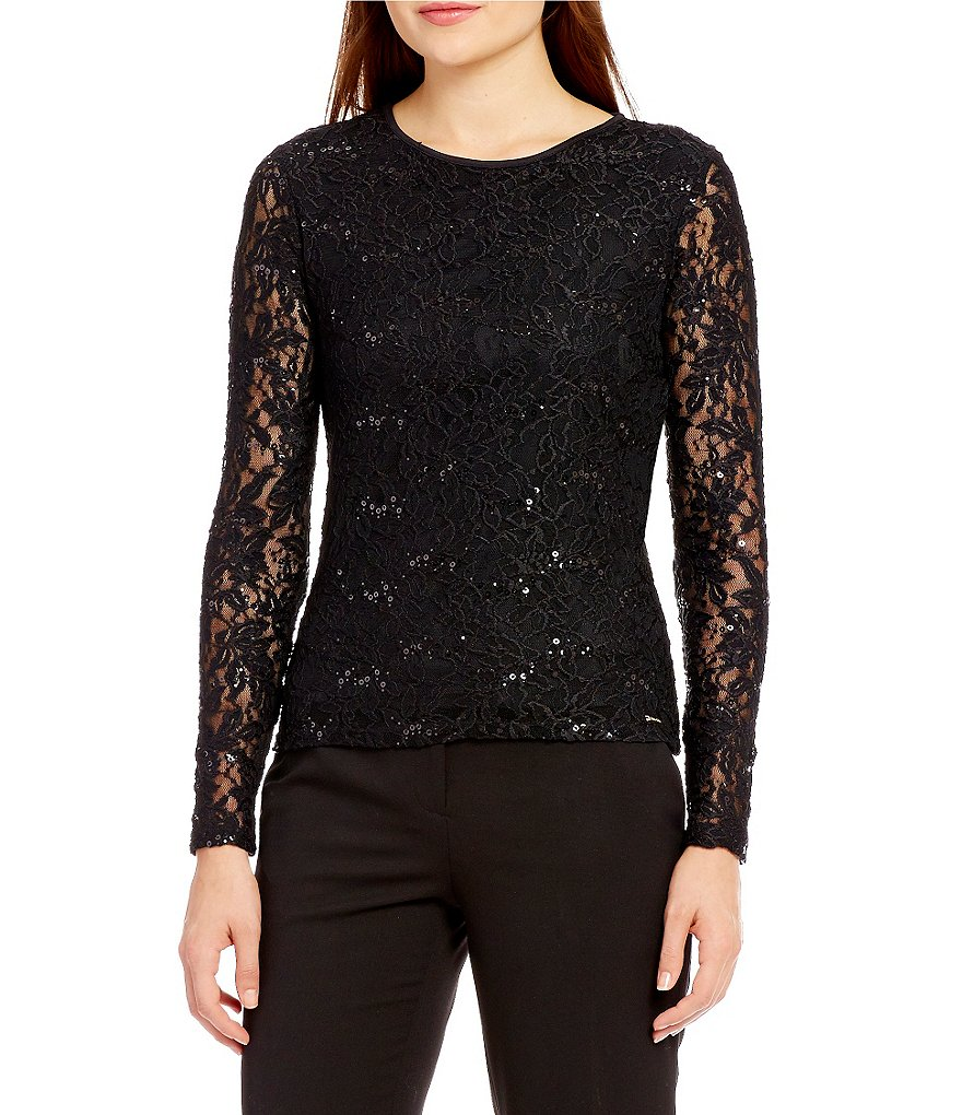 Calvin Klein Long Sleeve Sequined Lace Knit Top