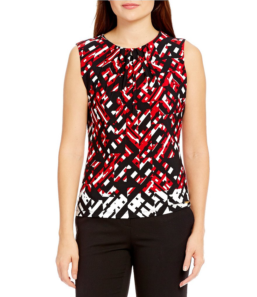Calvin Klein Pleat Neck Geometric Border Print Matte Jersey Shell