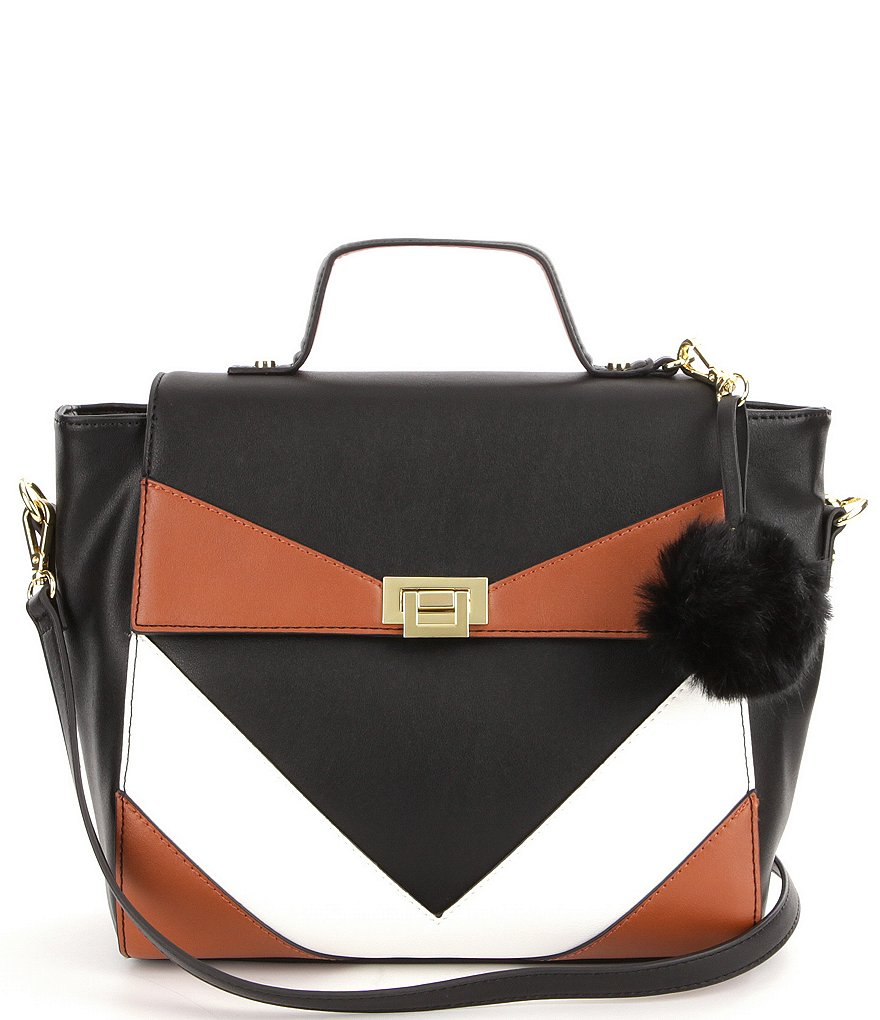 Gianni Bini V Color Block Top-Handle Satchel with Faux-Fur Pom Charm