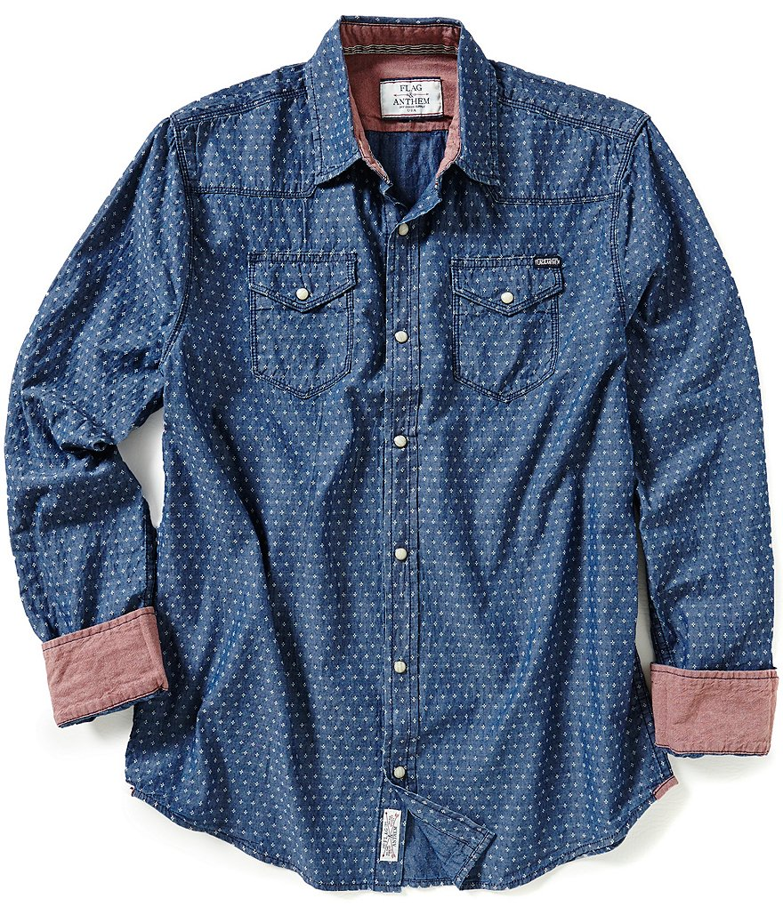 Flag & Anthem Chambray Dot Long-Sleeve Sportshirt