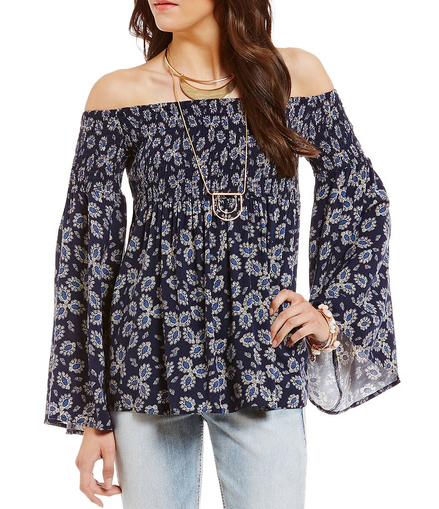 Wyldehart Printed Off-The-Shoulder Leaf-Print Smocked Top