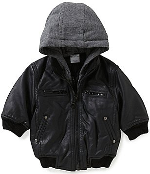 Starting Out Baby Boys 3-24 Months Hooded Faux-Leather Bomber Jacket