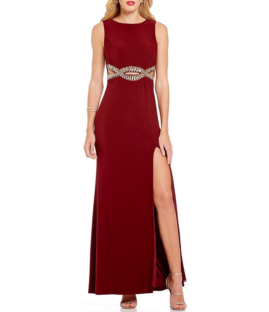 B. Darlin Beaded Infinity Waist Long Dress