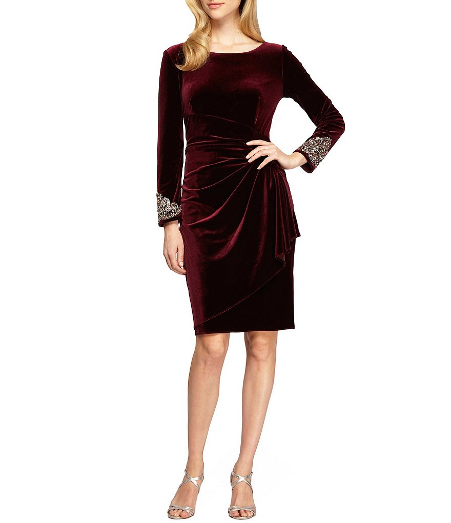 Alex Evenings Beaded Waist Velvet Ruched Shift Dress