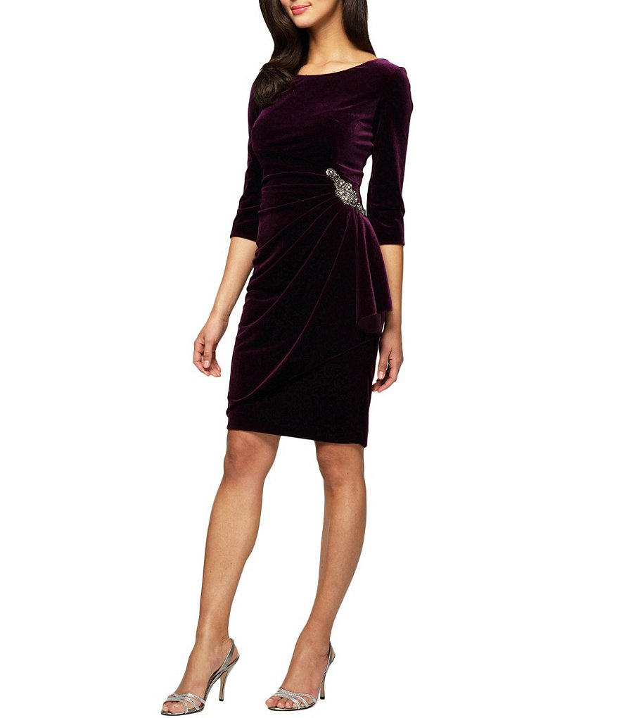 Alex Evenings Beaded Detail Side Ruched Velvet Dress